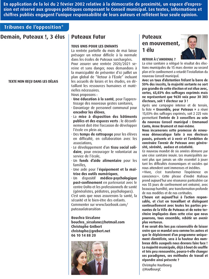 Tribune de l'opposition juin 2020