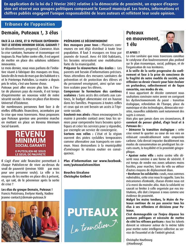 Tribune de l'opposition mai 2020